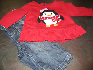 Girl's 3/6 months (Place) long sleeve shirt and Joe jeans $2.99