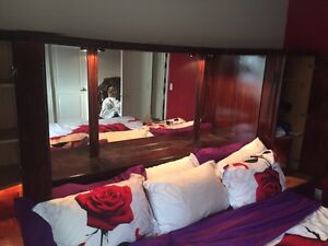 King size bed with XL  mirror dresser wall unit all in One