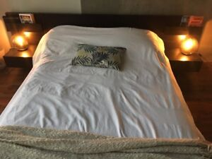 Malm Queen Bed Frame and Two matching/attached Side Tables