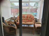 Quality Conservatory Furniture 2 Seater, 1 seater, footstool, 2 x lamp tables and a coffee table.