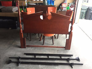 Headboard and metal bed frame for double.