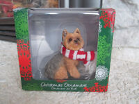 Yorkie Yorkshire Terrier Ornament Red White Scarf Sandicast
