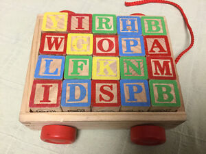 Pull Wagon with Wooden ABC Blocks