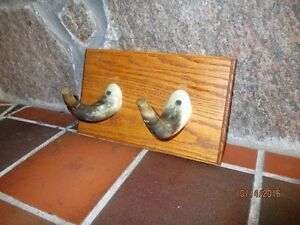 Rustic Hat / Coat Hook made from Cattle Horns - Mounted on Oak