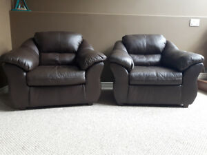 Set of Leather Chairs - Brown