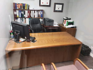 Solid wood office desks, credenzas, tables and chairs