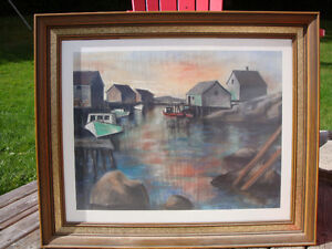 Beautiful Fishing Shanty Print Framed Glass Covered 30 x 25 inch