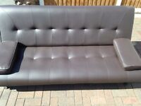 Brown leather 3 seater sofa bed NEW
