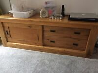 Solid Oak TV Unit + Coffee Table - excellent condition