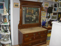 Antique Dresser with Large Bevelled Mirror