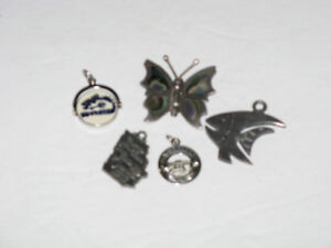 5 DIFFERENT STERLING SILVER CHARMS ~ BUTTERFLY~ ANGEL FISH ` ETC