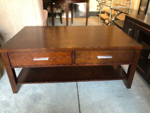 Wood coffee table with drawers