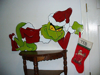 Hand Made, Hand Painted Grinch Shelf Setter Christmas Decoration