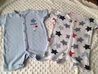 ** X4 Baby boy's Summer Star Rompers 0-3 Months ** Can Post **