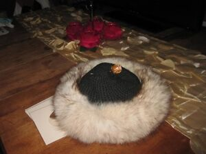 Ladies  genuine silver fox hat