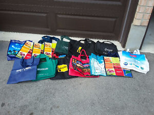Lot of assorted 20 tote bags reusable shopping bags