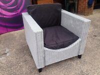 Wicker Rattan Armchair with Cushions Grey Garden Summer Chair