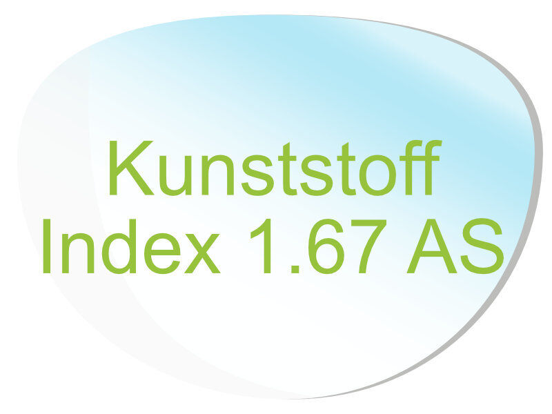 2 Brillengläser Kunststoff (Index1,67 AS) Super-ET, Hartschicht, CleanCoat