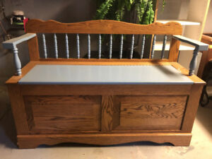 Solid Oak Bench with Storage