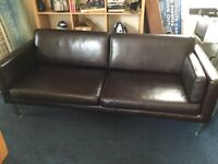 IKEA faux leather sofa dark brown