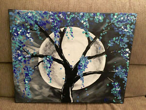 Hand painted by me - Tree of Blues