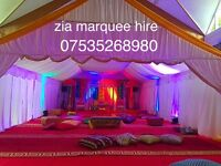 Zia marquee hire , ,chair hire, tent hire , wedding stage,house lighting .mehndi stage hire .