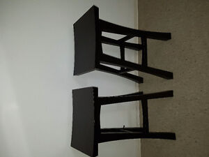 Wood dark brown stools - the pair