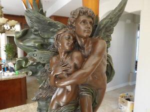 ART DECO: WORKING LOVING ANGELS / ANGES LAMP / LAMPE Art Déco St