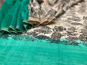 New - Designer print saree by Sneh in emerald with forest print