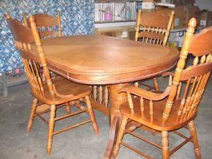 Oak Wooden Table & 4 Chairs