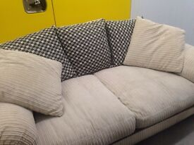 "Beige two seater sofa inc cushions""FREE LOCAL DELIVERY """