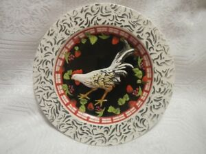 "Peacock Hand Painted  Porcelain Plate 8"" Dia. Made in Italy."