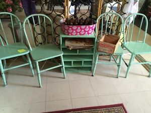 4 painted  antique chairs
