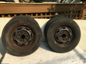 4–155/80/13 TIRES MOUNTED ON RIMS