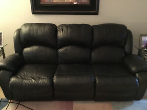 3 piece EL RAN black leather reclining couch set