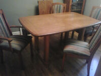Solid wood dining room and chairs