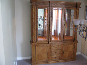Solid Wood Dining Set with Matching Hutch