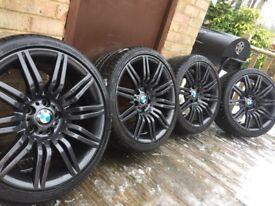 "Genuine BMW 5 6 Series 19"" Spyder 172 M Sport Alloy Wheels & Tyres E60 E61 Spider Grey"