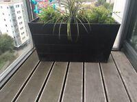 Ikea black balcony plant pot with fake plants