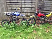 110 and 125 pitbikes