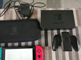 Nintendo switch console with acesorries