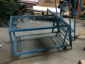 2 Step ladder with 2 shelves Cart on wheels