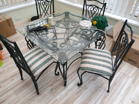 Conservatory glass table and 4 chairs