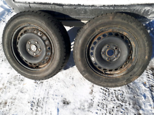 """15"""" Steel VW Rims with Winter Tires 5/112bolt pattern for mk5/6"""