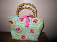 MARGARET GRACE FLOWERED PURSE WITH PINK RIBBON & WOOD HANDLES