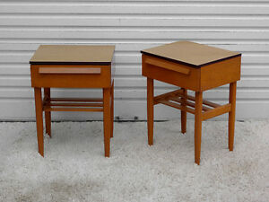 Mid Century Modern Maple Night Stand Tables by Imperial Kuypers
