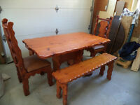 Rustic looking solid wood dining room set