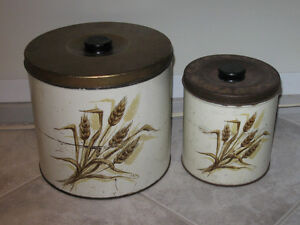 PAIR of OLD-FASHION-STYLE MATCHING KNOBBED TIN CANNISTERS ...