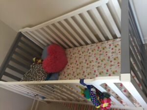 BABY Items, crib , crib bedding set and timberland shoes(size 5)