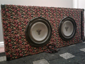 "Two ten"" JL subs in ported box and an ultimate 1x500 amplfier"